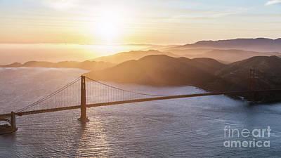 Photograph - Aerial Of Golden Gate Bridge At Sunset, San Francisco, Californi by Matteo Colombo