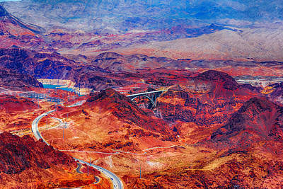 Photograph - Aerial Of Hoover Dam And Bypass Bridge by Jodi Jacobson