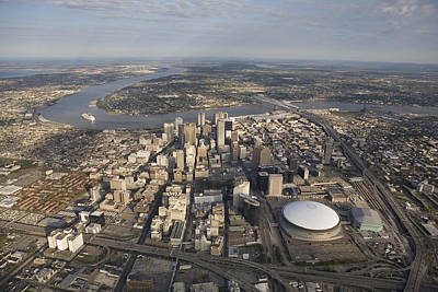 Aerial Of New Orleans Looking East Print by Tyrone Turner