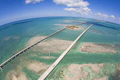Aerial Of Seven Mile Bridge At Extreme Print by Mike Theiss