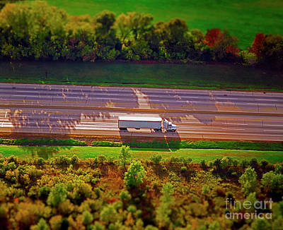 Photograph - Aerial Of Truck On Interstate Transportation Freight  by Tom Jelen