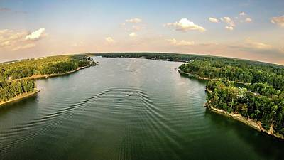 Lake Wylie Photograph - Aerial Over Lake Wylie South Carolina by Alex Grichenko
