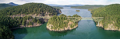 Photograph - Aerial Panorama Of Deception Pass Bridge In Washington State by Open Range