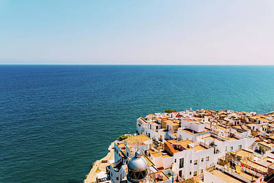 Aerial Panoramic View From Papa Luna Castle Of Peniscola City In Spain Art Print by Radu Bercan