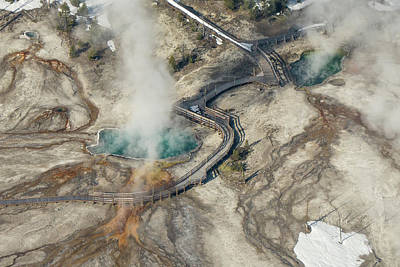 Photograph - Aerial Photo Of Black Pool And Abyss Pool At West Thumb Gesyer Basin by Janet Jones