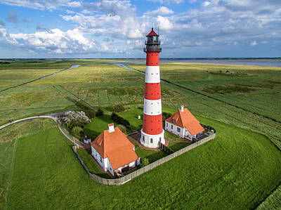 Photograph - Aerial Photograph Of Westerheversand Lighthouse by Marco Leiter