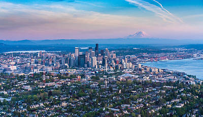 Photograph - Aerial Queen Anne And The Seattle Skyline by Mike Reid
