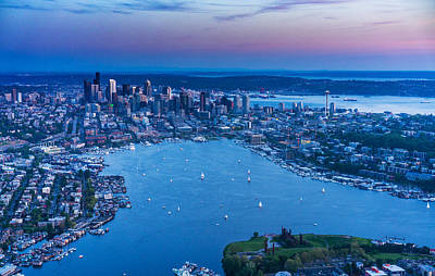 Aerial Seattle And Lake Union Art Print