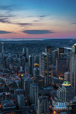 Photograph - Aerial Seattle Downtown Buildings Leading To The Space Needle by Mike Reid