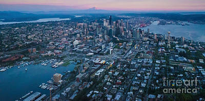 Photograph - Aerial Seattle Dusk Cityscape by Mike Reid