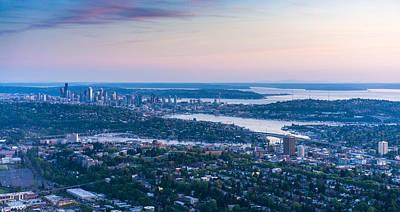 Aerial Seattle Dusk View Art Print by Mike Reid