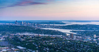 Aerial Seattle Dusk View Art Print
