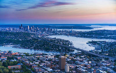 Photograph - Aerial Seattle Metropolitan Area by Mike Reid