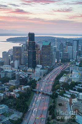 Photograph - Aerial Seattle Skyline And Interstate 5 by Mike Reid