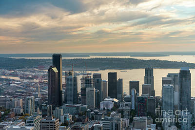 Photograph - Aerial Seattle Skyline On The Grow by Mike Reid