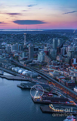 The Link Photograph - Aerial Seattle Waterfront And Space Needle by Mike Reid