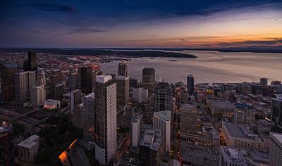 Aerial Seattle Westward View Art Print by Mike Reid