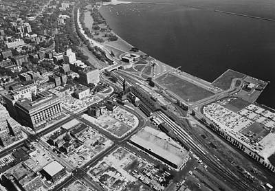 Photograph - Aerial Shot Of Milwaukee - 1961 by Chicago and North Western Historical Society