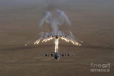Aerial Shot Over Iraq Of A Kc-130 Art Print