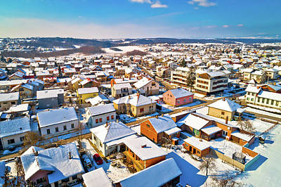 Photograph - Aerial Snowy Winter View Of Krizevci by Brch Photography