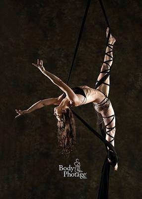 Aerial Splits With Black Silks Art Print