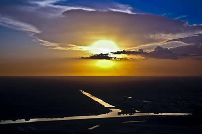 Photograph - Aerial Sunset Over Canal by Carolyn Marshall