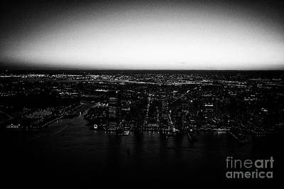 Exchange Place Photograph - aerial sunset view of Jersey City and exchange place new jersey USA by Joe Fox