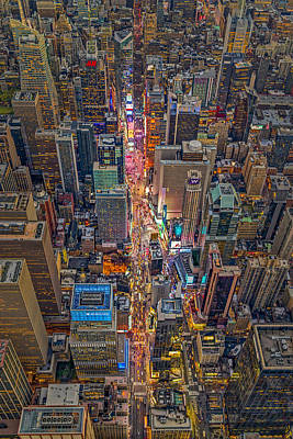 Times Square Photograph - Aerial Times Square New York City  by Susan Candelario