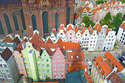 Photograph - Aerial View At The Old City Of Gdansk In Poland by Marek Poplawski