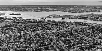 Photograph - Aerial View Bayonne Bridge Nj Bw by Susan Candelario