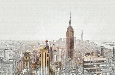 Digital Art -  Aerial View Manhattan by Don Kuing