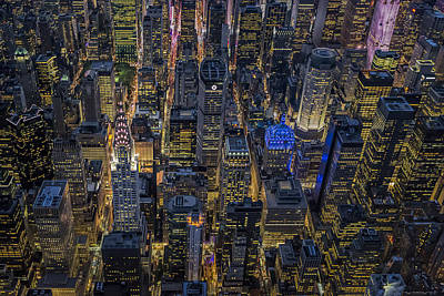 Chrysler Building Photograph - Aerial View Midtown Manhattan Nyc by Susan Candelario