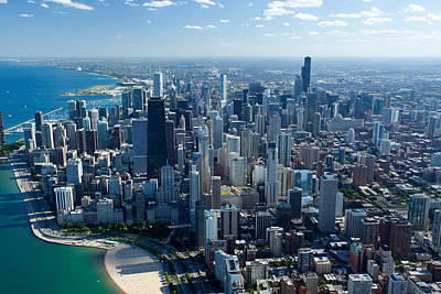 Aerial View Of A City, Lake Michigan Art Print by Panoramic Images
