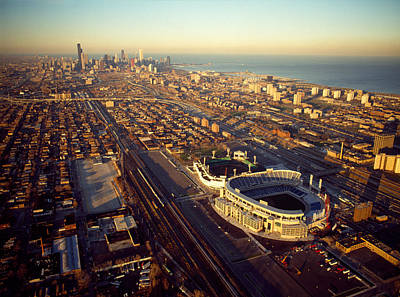 Soldier Field Photograph - Aerial View Of A City, Old Comiskey by Panoramic Images