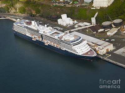 Sunset Photograph - Aerial View Of A Cruise Ship Docked In The Port Of Hilo, Hawaii by Dani Prints and Images