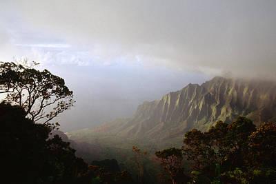 Aerial View Of A Valley Kalalau Valley Na Pali Coast Kauai Hawaii Art Print by George Oze