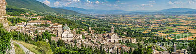 Unicorn Dust - Aerial view of Assisi with golden-green fields of Umbria, Italy by JR Photography