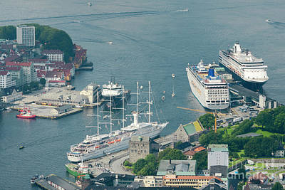 Summer Photograph - Aerial View Of Bergen Port With Cruise Ships Docked, Norway by Dani Prints and Images
