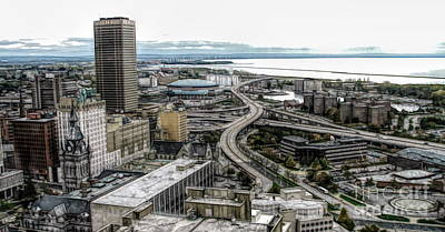 Mixed Media - Aerial View Of Buffalo New York 2 Fwc Effect by Rose Santuci-Sofranko