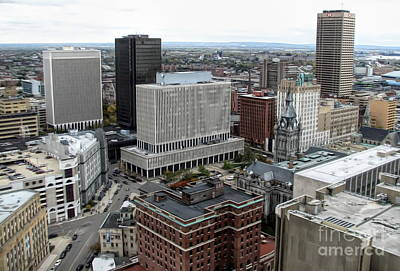 Mixed Media - Aerial View Of Buffalo New York 3 Soft Effect by Rose Santuci-Sofranko