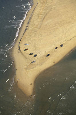 Hatteras Island Photograph - Aerial View Of Cars On The Coast by Steve Winter