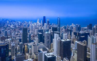 Chicago Skyline Aerial View  Art Print by Art Spectrum