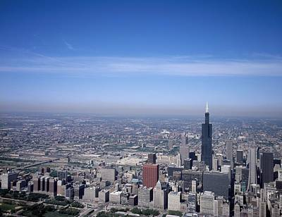 Previously Painting - Aerial View Of Chicago, Illinois. The Black Skyscraper Is Willis Tower, Previously Known As Sears To by Celestial Images