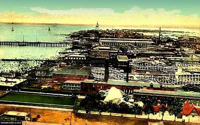 Roller Coaster Mixed Media - Aerial View Of Coney Island, 1910 by Dwight GOSS