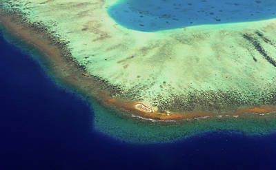 Photograph - Aerial View Of Coral Reef Formation. Maldives by Jenny Rainbow