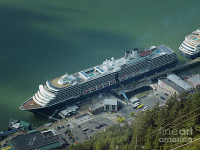 Pacific Photograph - Aerial View Of Cruise Ships Docked At The Port Of Juneau In Alas by Dani Prints and Images