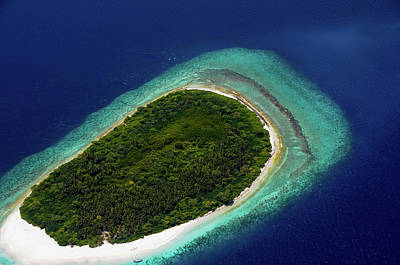 Photograph - Aerial View Of Deserted Island. Maldives by Jenny Rainbow