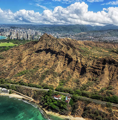 Wall Art - Photograph - Aerial View Of Diamond Head Crater And Lighthouse by Martin Belan