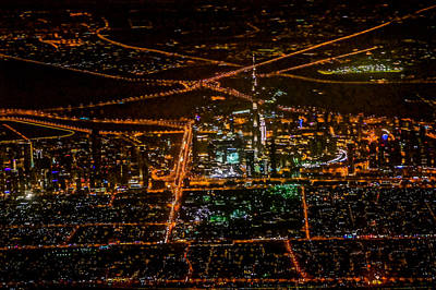 Aerial View Of Dubai City At Night Art Print