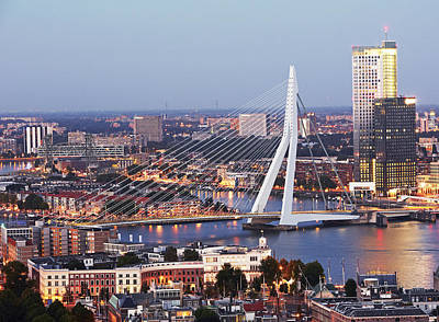 Maas Photograph - Aerial View Of Erasmusbrug (erasmus Bridge) by Allan Baxter